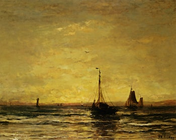 The Return of the Fleet at Sunset by Hendrik Willem Mesdag