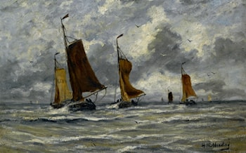 Ships at Full Sea by Hendrik Willem Mesdag