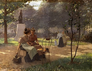Young Women in the Park by Albert Cresswell
