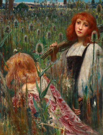 Girls Gathering Flowers (Teasels) by Cecil Leonard Burns