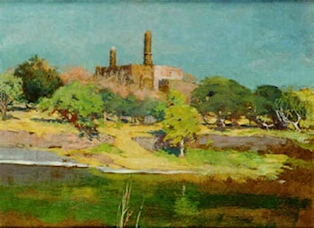 River Landscape with a Ruin of a Mosque by Cecil Leonard Burns