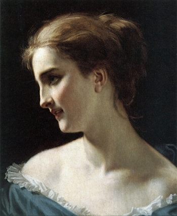 A portrait of a Woman by Hugues Merle