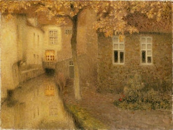 A Canal in Bruges at Dusk by Henri Le Sidaner
