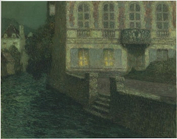 House by the River in full moon by Henri Le Sidaner