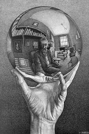 Hand with Reflecting Globe by M.C. Escher