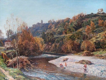 The River at Cagnes, Alpes-Maritimes, France by Herbert Edwin Pelham Hughes-Stanton
