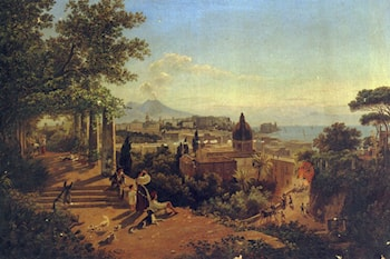 A view of the bay of Naples and Vesuvius by Friedrich Mayer