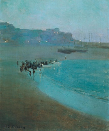 Beach at Dusk, St Ives Harbour by William Evelyn Osborn