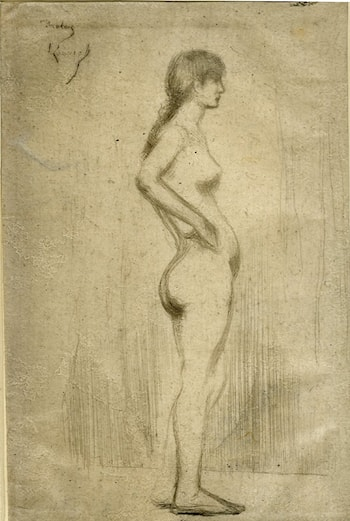 Study from the Nude of a Girl Standing by Théodore Roussel