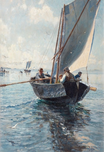 Fishermen in a boat by Johan Krouthén