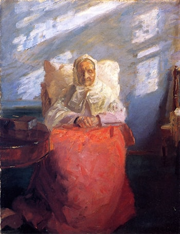 Ane Hedvig Brøndum in a Blue Room by Anna Ancher