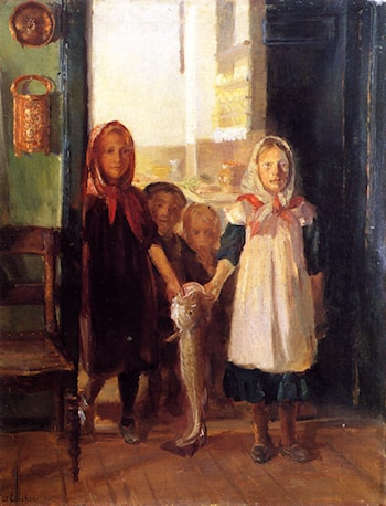 Little Girls with a Cod by Anna Ancher
