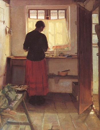 The Maid in the Kitchen by Anna Ancher