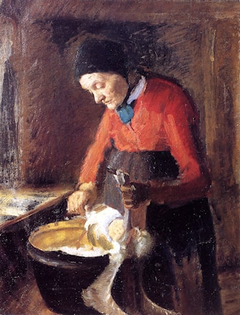 Old Lene Plucking a Goose by Anna Ancher