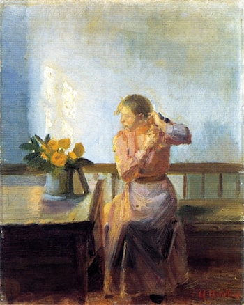 Seated Woman Weaving Her Hair by Anna Ancher