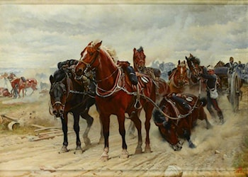 Patient Horses, a Royal Artillery Gun Team in Action, c 1882 by Elizabeth Butler