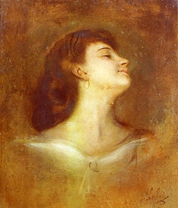 Portrait Of A Lady In Profile by Franz von Lenbach