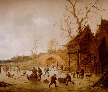 A Winter Landscape With Skaters, Children Playing Kolf And Figures With Sledges On The Ice Near A Bridge by Isack van Ostade