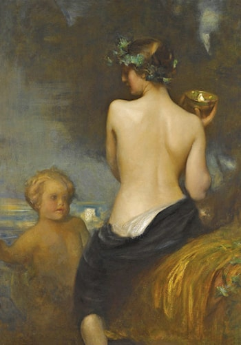 A Nude Bacchante with a Child Faun by Arthur Hacker
