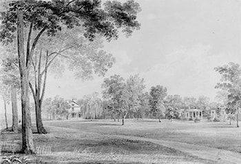 View of the David Hosack Estate, Hyde Park, New York, from the South (from Hosack Album) by Thomas Kelah Wharton