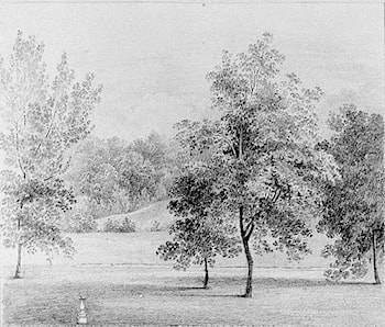 View of David Hosack Estate, Hyde Park, New York, with a Sundial (from Hosack Album) by Thomas Kelah Wharton
