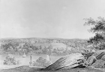 View of the David Hosack Estate at Hyde Park, New York, from Western Bank of the Hudson River (from Hosack Album) by Thomas Kelah Wharton