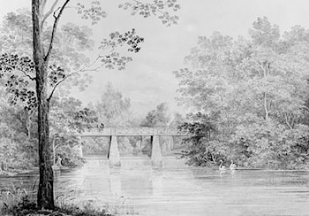 Bridge over Crumelbow Creek, David Hosack Estate, Hyde Park, New York (from Hosack Album) by Thomas Kelah Wharton
