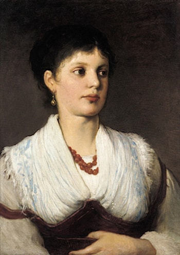 A portrait of a woman in native costume by Gabriel Cornelius Ritter von Max