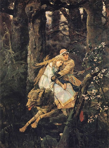 Ivan Tsarevitch Riding the Grey Wolf by Victor Michailovitch Vasnetsov