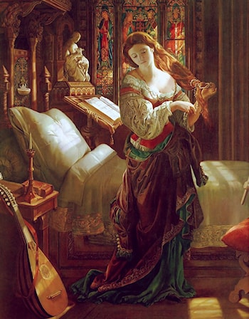 Madeline after prayer by Daniel Maclise