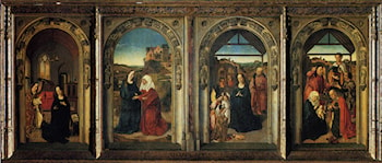 Polyptych Showing The Annunciation, The Visitation, The Adoration Of The Angels And The Adoration Of The Kings by Dirck Bouts