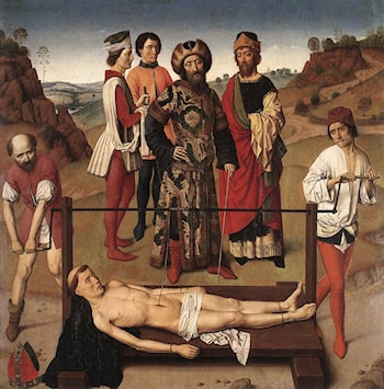 Martyrdom of St Erasmus (central panel) by Dirck Bouts