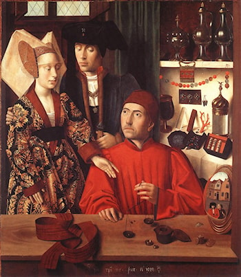 St Eligius in His Workshop by Petrus Christus