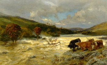 The Wye in Flood by Henry William Banks Davis