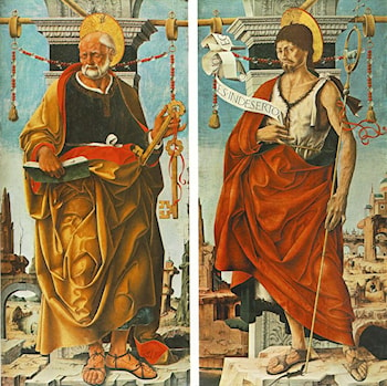 St Peter and St John the Baptist (Griffoni Polyptych) by Francesco del Cossa