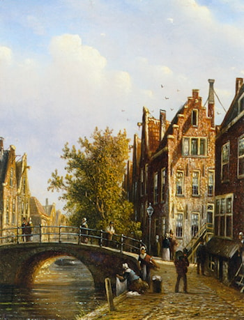 A Dutch Town With Figures on a Canal by Johannes Franciscus Spohler