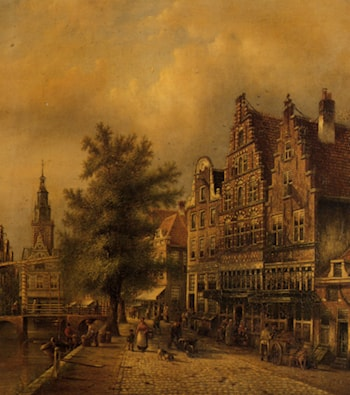 A Busy Dutch Street by Johannes Franciscus Spohler