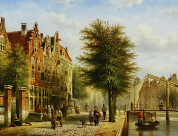 By the Canal by Johannes Franciscus Spohler