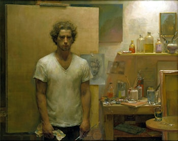 Self Portrait with canvas by Jacob Collins