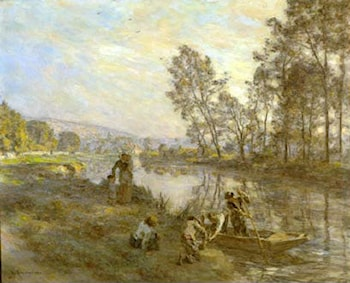 Figures by a Country Stream by Leon-Augustin L'hermitte