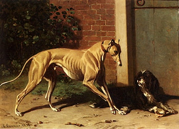 A Greyhound And A Shepherd Dog by Conradyn Cunaeus