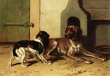 A King Charles Spaniel And A Drentse Partridge Dog by Conradyn Cunaeus