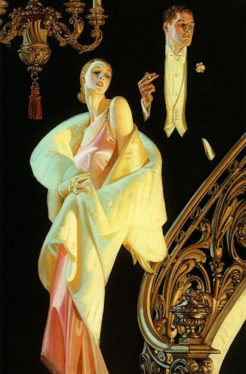Couple Descending Staircase by Joseph Christian Leyendecker