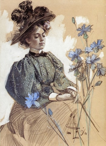 Lady with Flowers by Joseph Christian Leyendecker