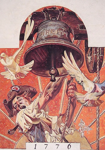 Patriot and Liberty Bell by Joseph Christian Leyendecker
