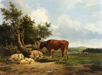 An Extensive Landscape With Cattle Resting by Simon Van Den Berg