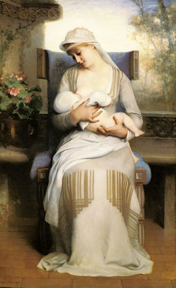 Young Mother Feeding Her Baby by Emile Levy