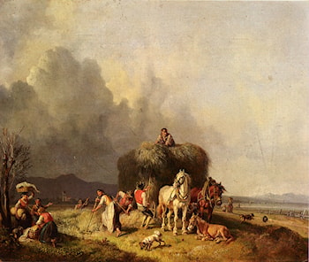 Loading The Hay­Wagon by Heinrich Burkel