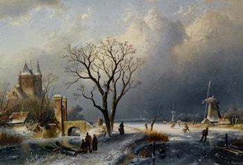 A Winter Landscape with Figures near a Castle by Charles Henri Joseph Leickert
