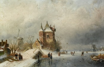 Skaters in Holland by Charles Henri Joseph Leickert